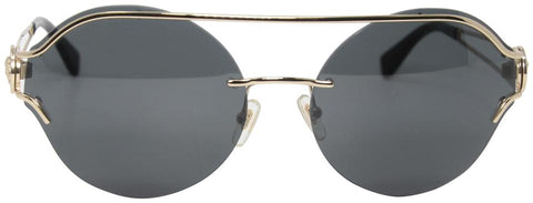 Versace Black Gold Round Double Bridge Medusa Logo 2184 The Manifesto Sunglasses