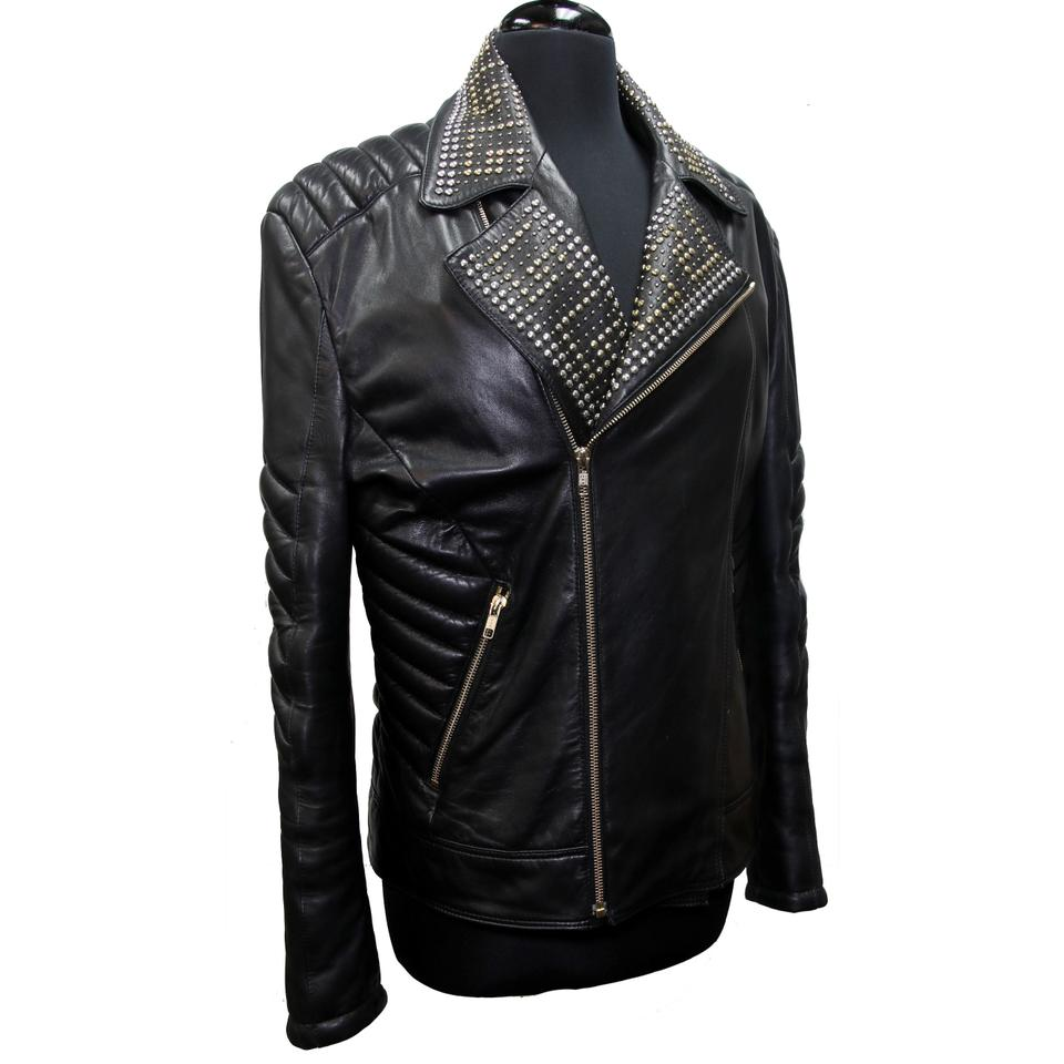Versace for H&M Black L Womens Gold Studded Limited Moto Biker Lambskin Jacket