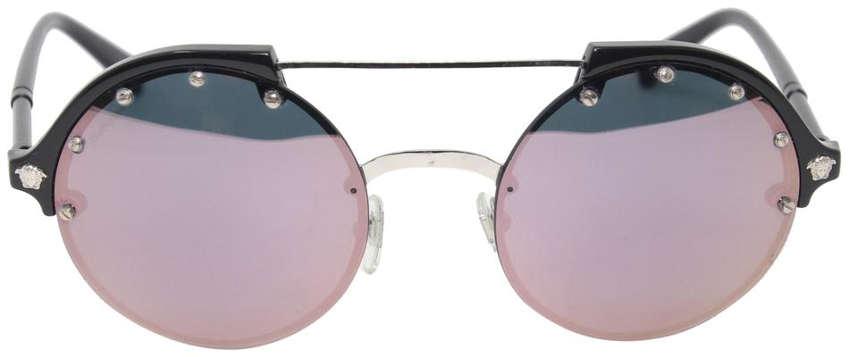 Versace Reflective Round Double Bridge Medusa Greek Key 4337 Sunglasses