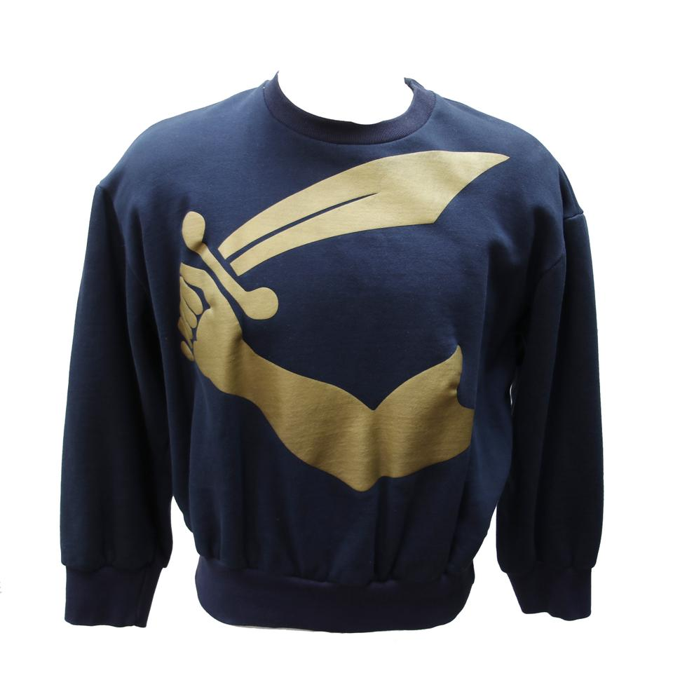 Vivienne Westwood Blue Gold Arm Sword Pullover Sweater Men's Size Shirt