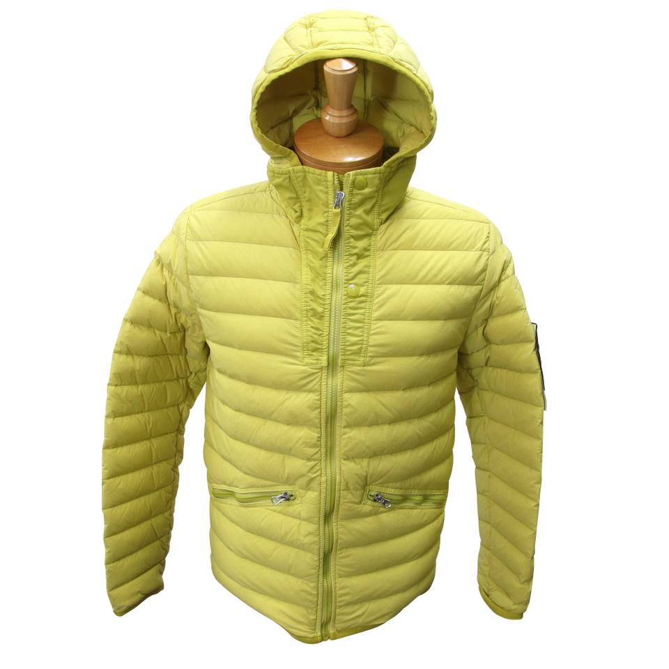 Wheat Yellow Loom Woven Down Chambers St-nylon-tc Real Down Zip Puffer Coat