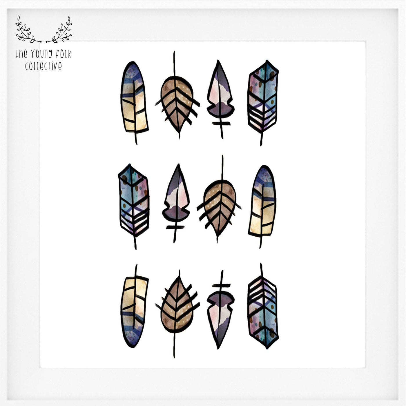 fun nursery print feathers