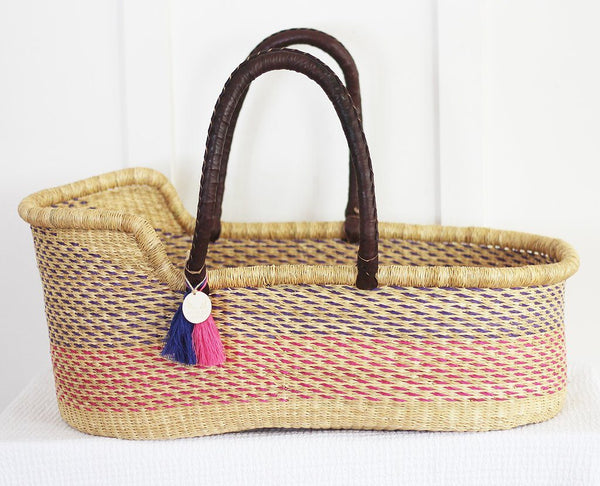 'Shades of Magenta' Moses Basket  - (mattress included)