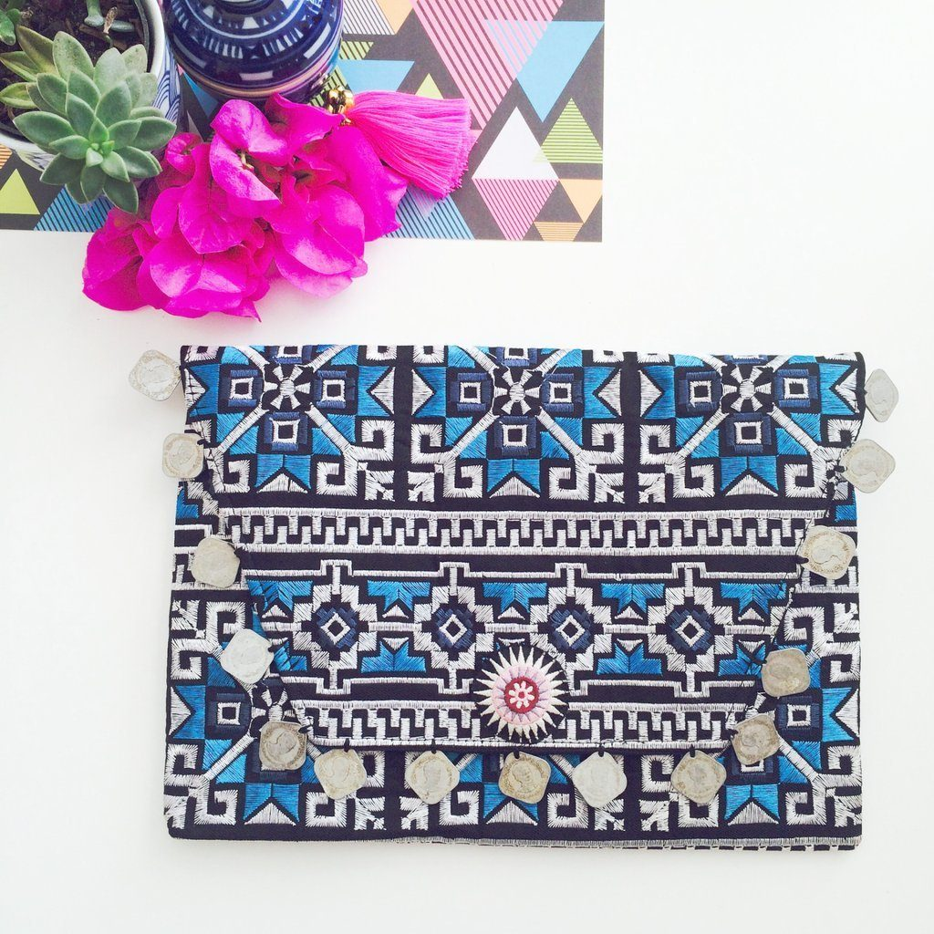 'Icy Blue Kilim with Coins' Clutch