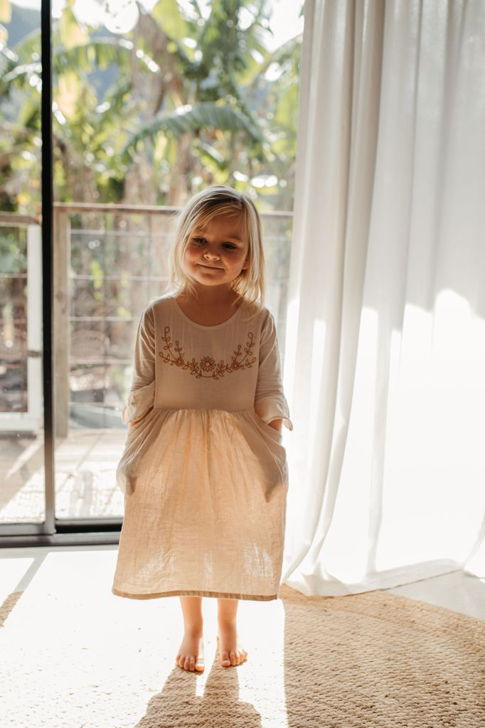boho flower girls dress linen