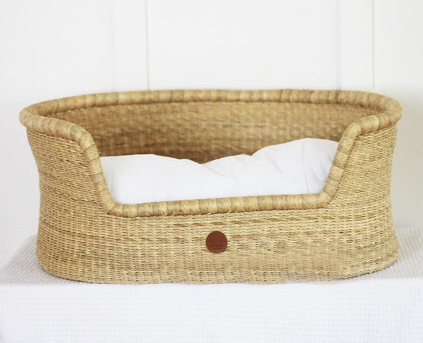 'Natural' Dog Basket (Small)  - cushion included