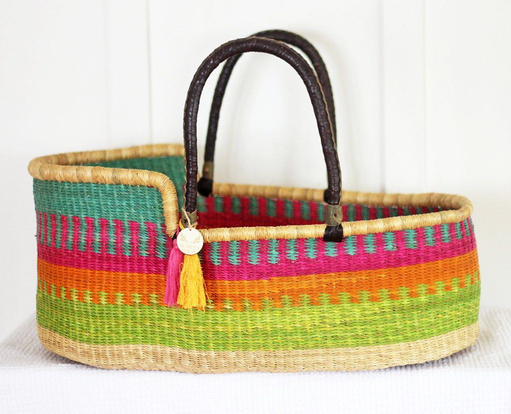 'Rainbow Dancer' Moses Basket  - (mattress included)