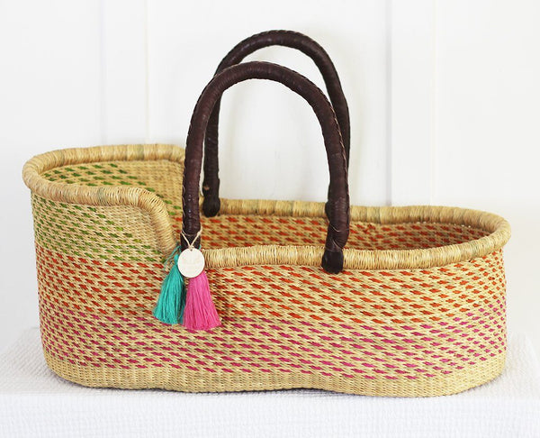 'Hibiscus' Moses Basket  - (mattress included)