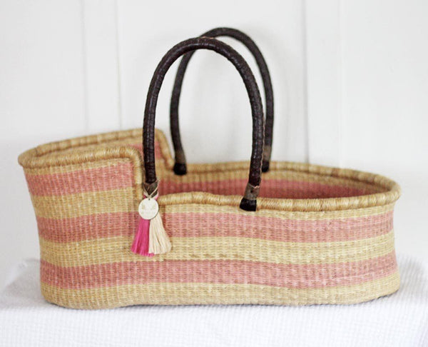 'Pretty in Pink' Moses Basket  - (mattress included)