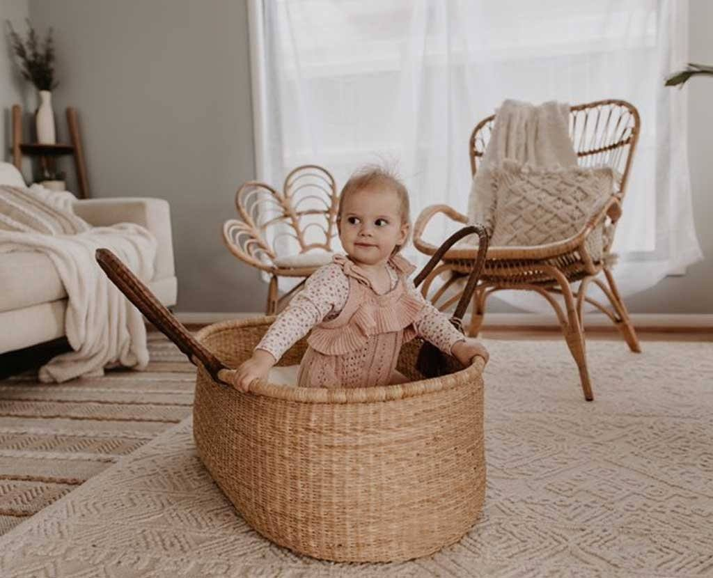 Moses Basket Brown Handles