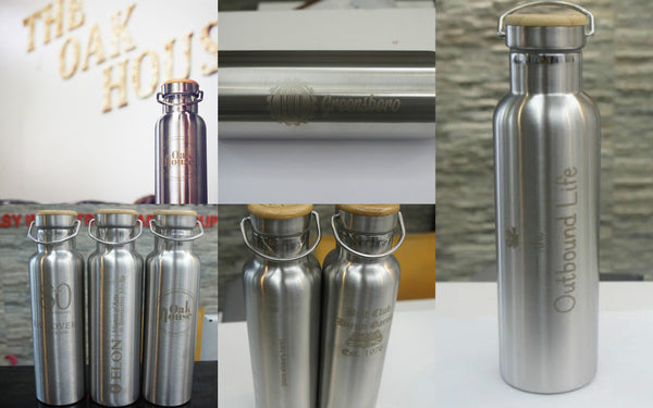 custom logo engraved stainless steel water bottles