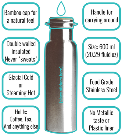 Wabo - Stainless Steel Water Bottle - The best damn bottle you'll ever own.