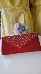 Red and Pearl Sparkle Clutch Handbag