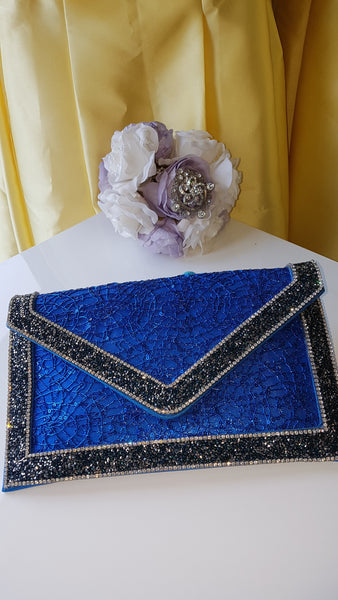 Blue and Black Beaded Envelope Clutch Handbag