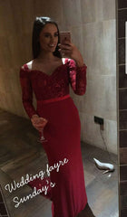 Rachel Red Off Shoulder Long Sleeve Lace Train Formal / Bridesmaid Dress