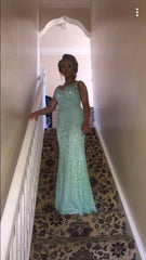 Charlene Aqua Blue Lace and Pearl Formal / Bridesmaid Dress