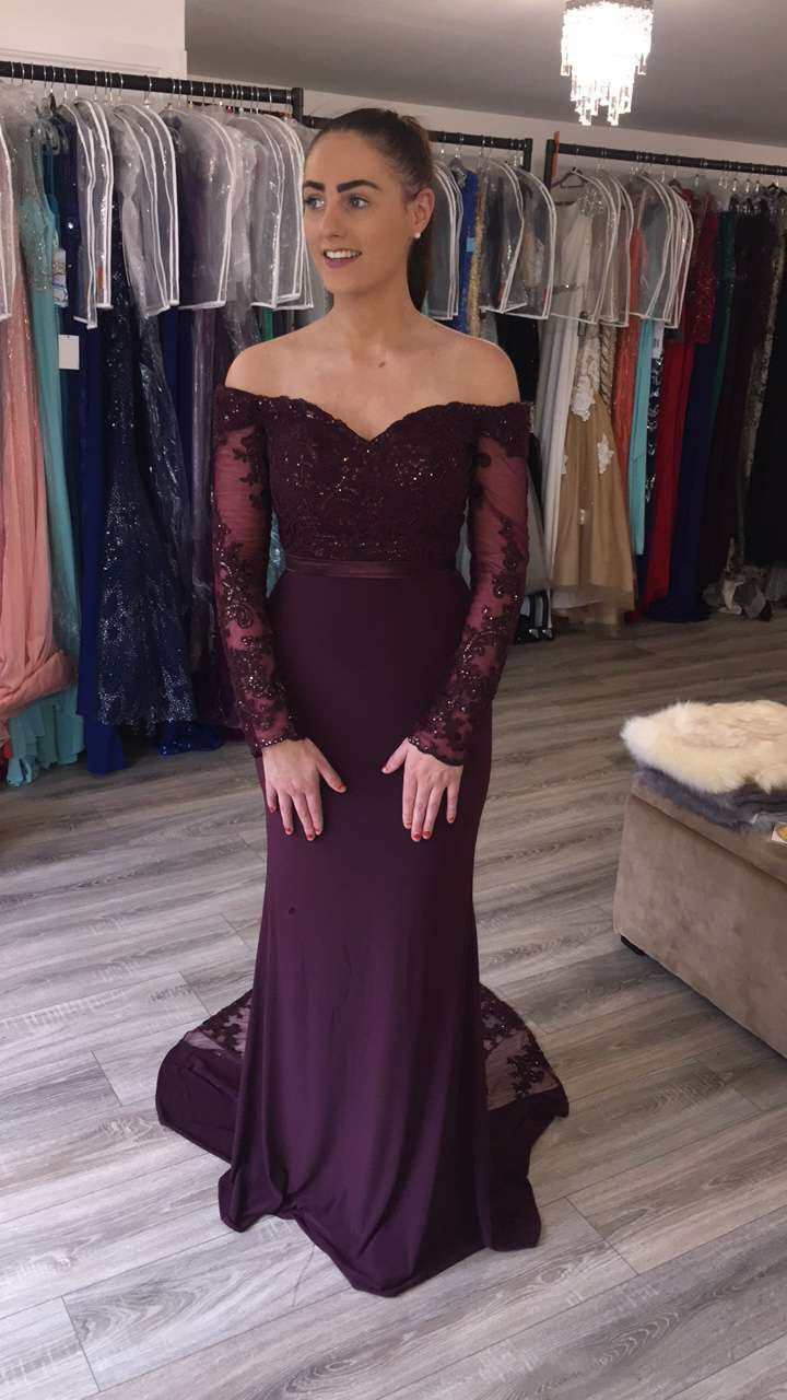 f2d6679bf334 ... Rachel Burgundy Maroon Off Shoulder Long Sleeve Lace Train Formal    Bridesmaid Dress ...