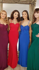 Saskia Skinny Strap Red Blue Green Burgundy Super Fitted Formal Prom Dress