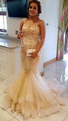 Johanna Gold Champagne Fishtail Formal Prom Dress