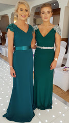 Silver and Green Sequin Shoulder V Neck Bridesmaid Dress
