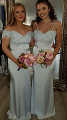Saffron Silver Lace Elegant Bridesmaids Dress