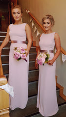 Sienna Silver Grey Pearl Neck Plain & Elegant Bridesmaids Dress