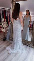 Phoebe Silver Sparkle Formal Prom Dress