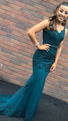 Victoria Green Laced Formal Prom Dress