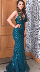 Isabelle Green Embellished Formal Prom Dress