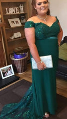 Leah Emerald Green Off The Shoulder Formal Prom Dress
