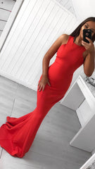 Hallie Red Razor Neck Fitted Formal Prom Dress
