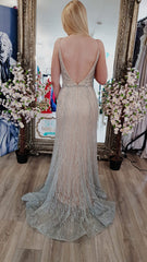 Freya Silver And Pink Backless Skinny Strap Formal Prom Dress