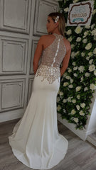 Gracie White Crystal Halter Neck Formal Prom Dress