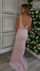 Abigail Pink Low Back With Belt Formal Prom Dress