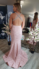Evie Light Pink Sparkling Beaded CrissCross Back Strap Formal Prom Dress