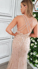 Bonnie Rose Gold Sequin Double CrissCross Back Strap Formal Prom Dress