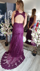 Aisha Purple With Belt And Laced Detail Formal Prom Dress