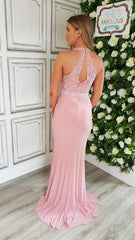 Sofia Baby Pink Halter Neck Formal Prom Dress