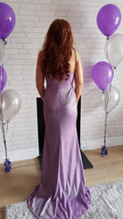 Mila Lilac Shimmer Straped Formal Prom Dress