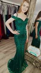 Layla Emerald Green Sequin Formal Prom Dress
