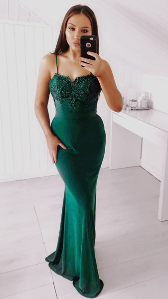Willow Emerald Green Skinny Strap Formal Prom Dress