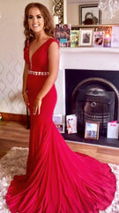 Savanna Red With Belt Flowing Trail Formal Prom Dress
