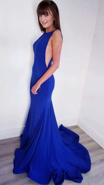Zoe Royal Blue Dress With Flowing Trail Formal Prom Dress