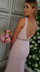 Leah Pink Beaded Belt Bridesmaids Dress
