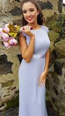 Sienna Cornflower Blue Laced Shoulders Plain & Elegant Bridesmaids Dress