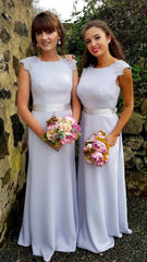 Sienna Grey/Silver Laced Shoulders Plain & Elegant Bridesmaids Dress