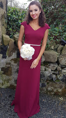 Aubrey Burgundy Diamond Belt Plain & Elegant Bridesmaids Dress