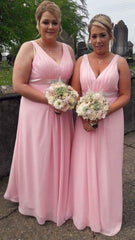 Emily Pink Diamond Belt Bridesmaids Dress