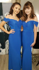 Shauna Deep Blue Of The Shoulder Elegant Bridesmaids Dress
