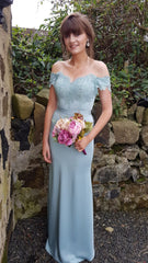 Marie Duck Egg Blue Of The Shoulder Laced Top Bridesmaids Dress